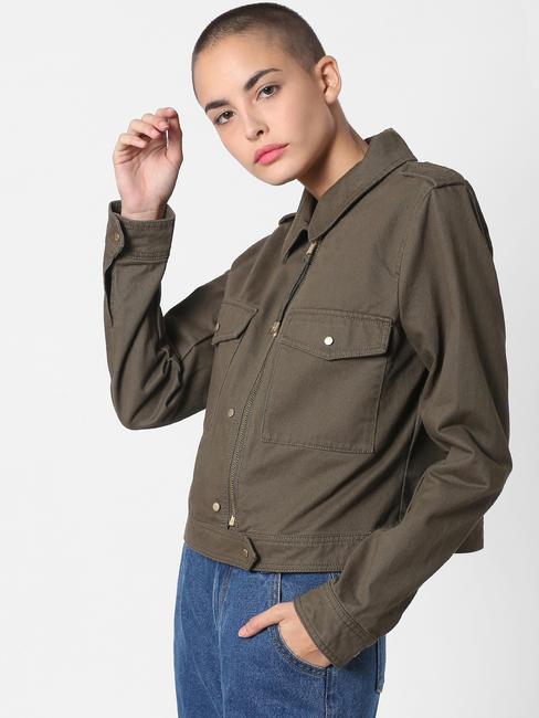 Dark Green Cropped Jacket
