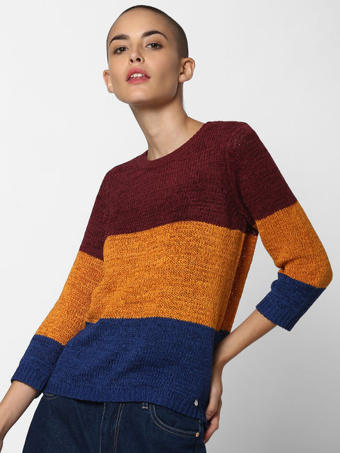 Burgundy Colourblocked Pullover