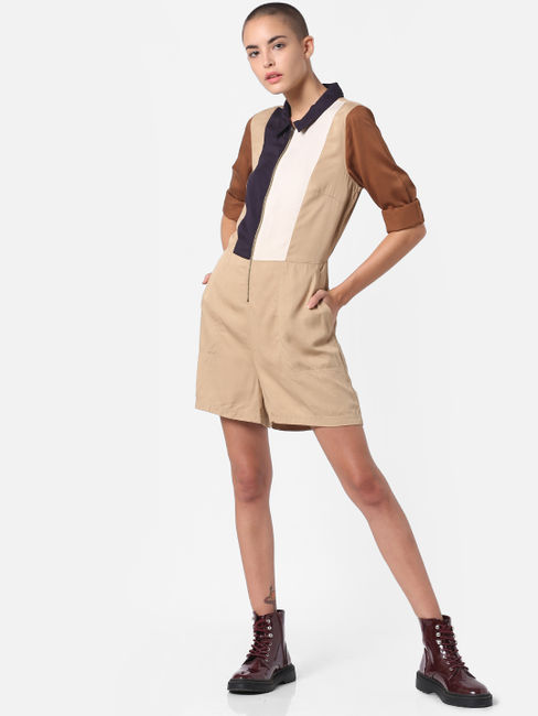 Brown Colourblocked Jumpsuit