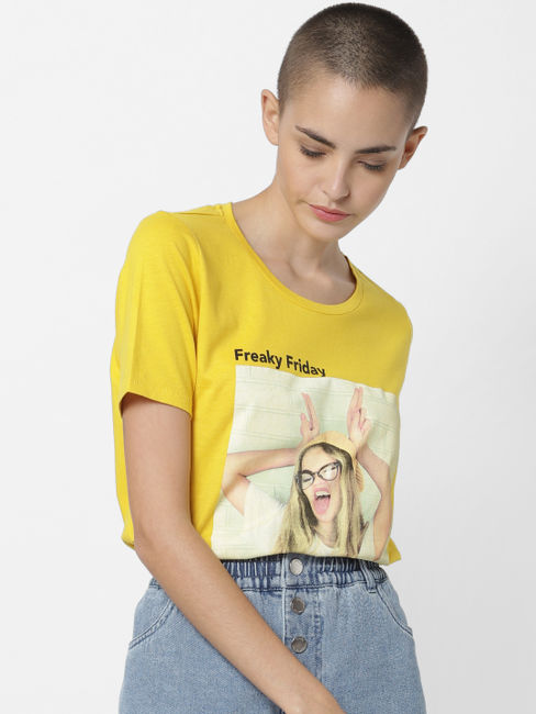 Yellow Freaky Friday Print T-shirt