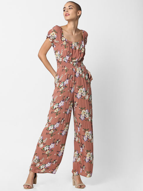 Dark Pink Floral Print Jumpsuit