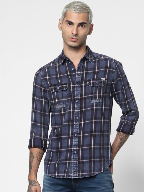 Dark Blue Check Denim Full Sleeves Shirt