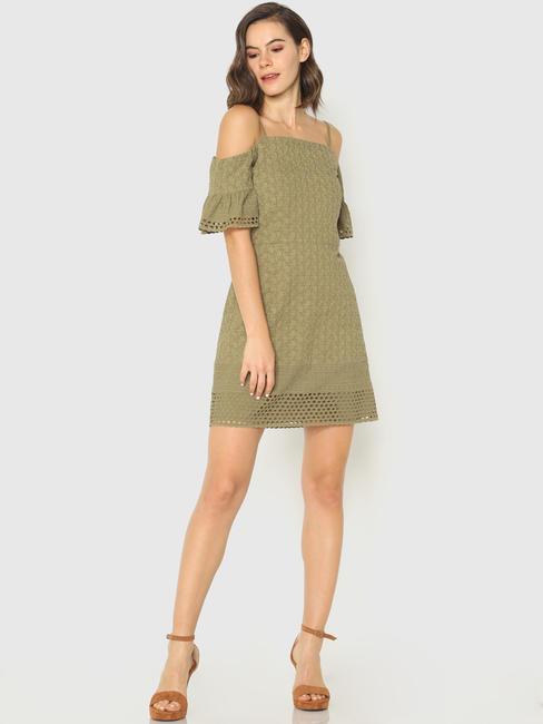 Green Lace Off-Shoulder Mini Dress