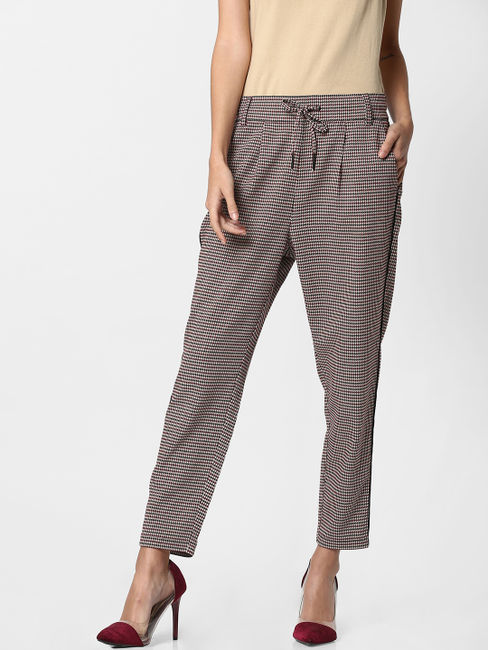 Brown Houndstooth Mid Rise Slim Fit Trousers