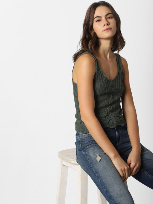 Olive Green Sleeveless Knit Top