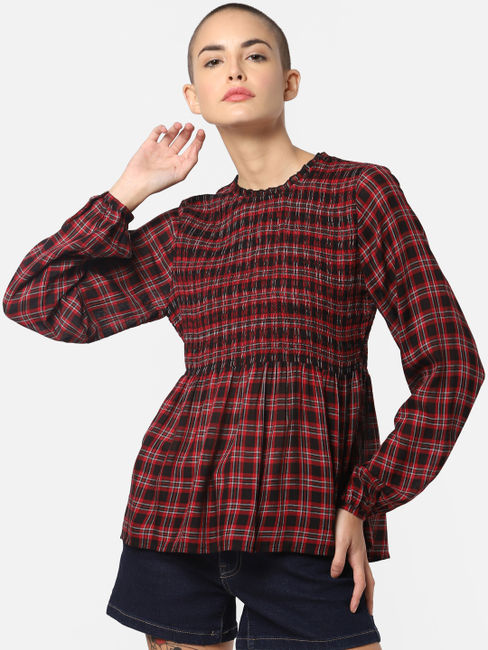 Red Check Smock Top