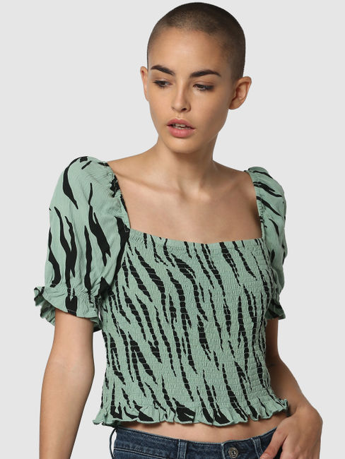 Green All Over Print Smock Top