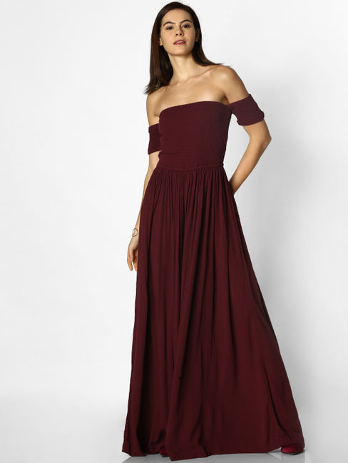 Burgundy Smock Flared Jumpsuit