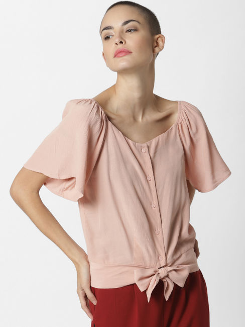 Light Pink Front Bow Top