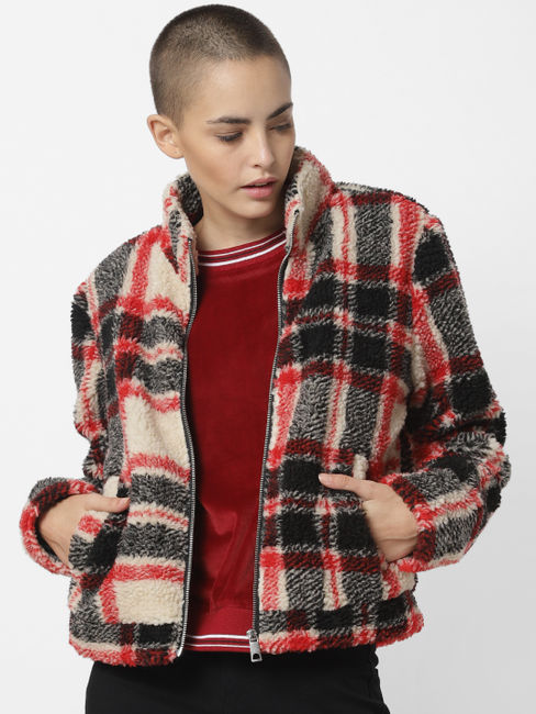 White Check Short Coat