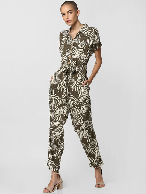 Dark Green All Over Print Jumpsuit