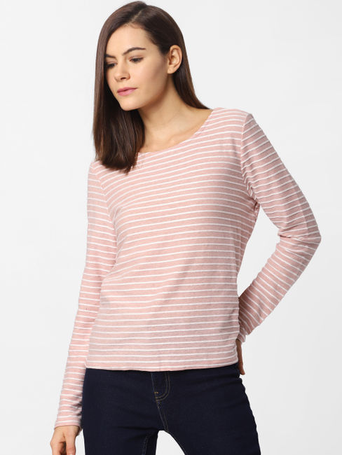 Pink Striped Back Bow Top