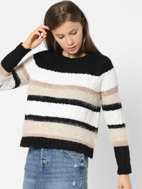 Black Colourblocked Pullover