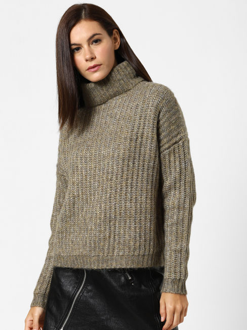 Green Roll Neck Pullover