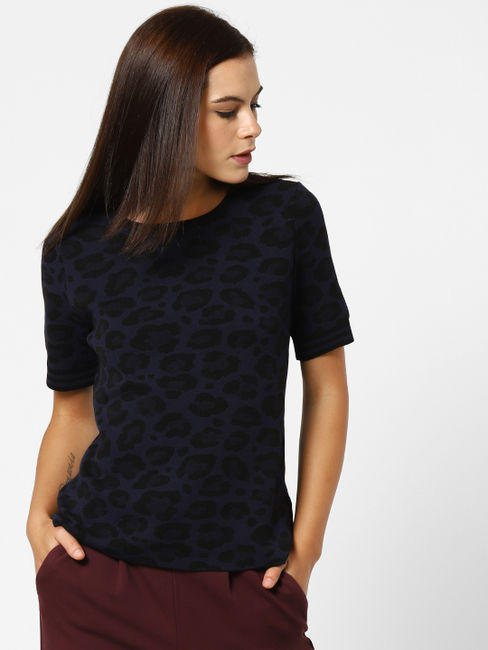 Navy Blue Animal Print Pullover