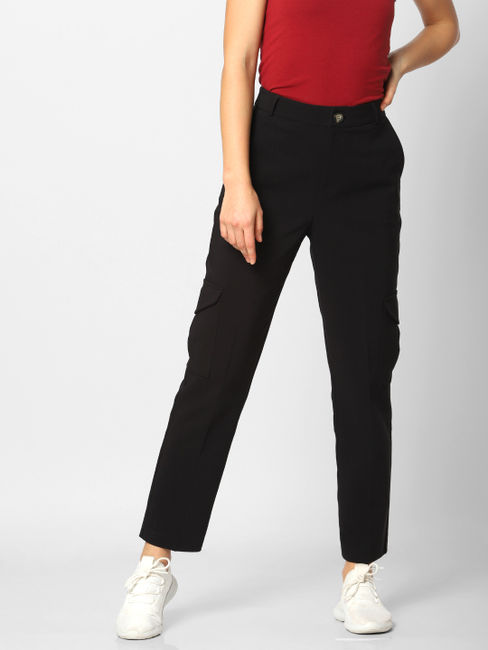 Black High Rise Side Pockets Pants