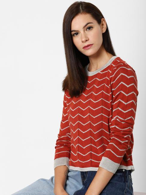 Red Chevron Print Pullover