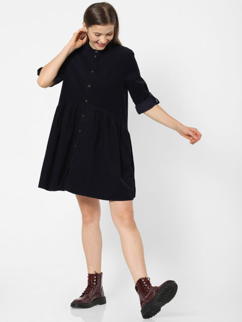 Navy Blue Corduroy Flared Shirt Dress
