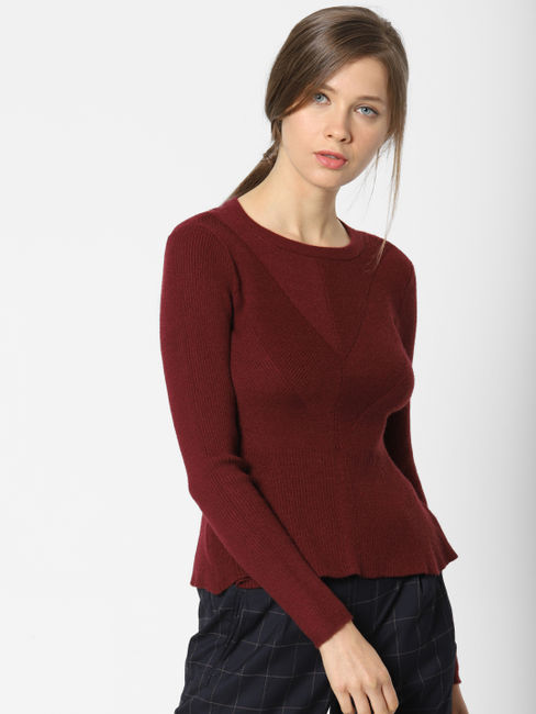 Burgundy Fitted Pullover