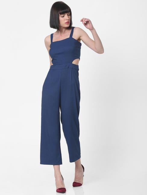 Blue Side Cut Textured Jumpsuit