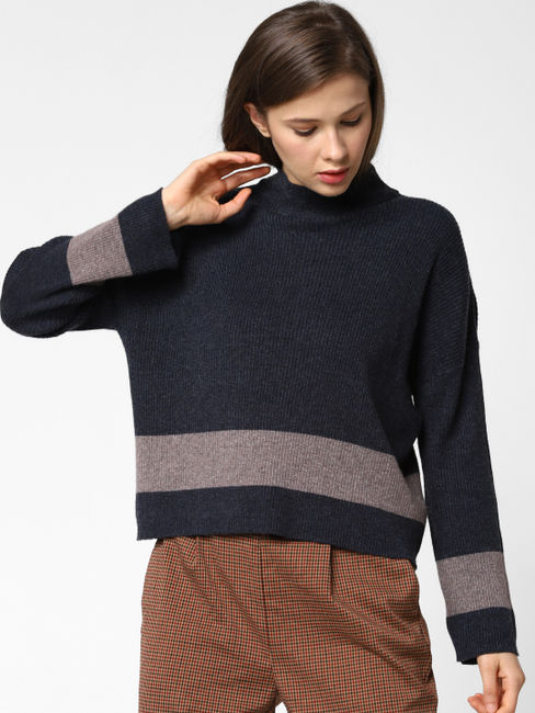 Navy Blue Contrast Striped Pullover