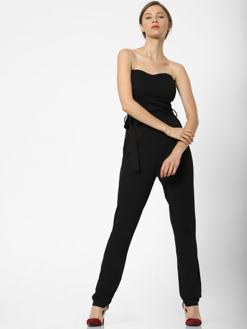 Black Sweetheart Neck Belted Jumpsuit