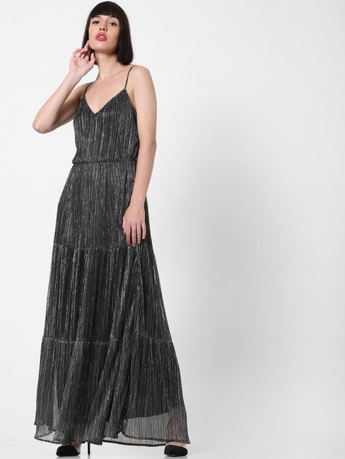 Black Shimmer Spaghetti Maxi Dress