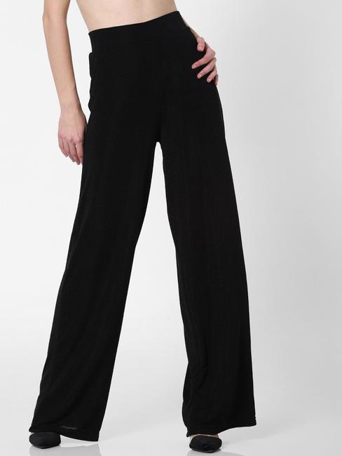 Black High Rise Shimmer Straight Pants