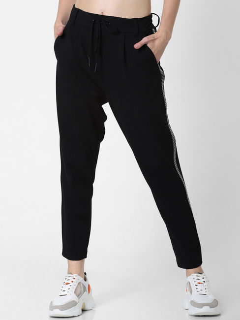 Black Mid Rise Tape Detail Pants
