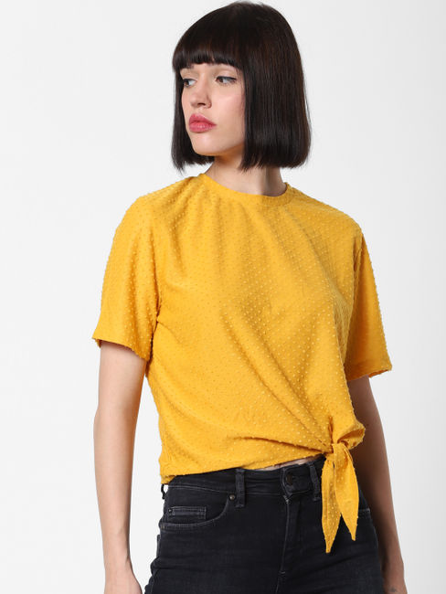 Yellow Textured Front Knot Top