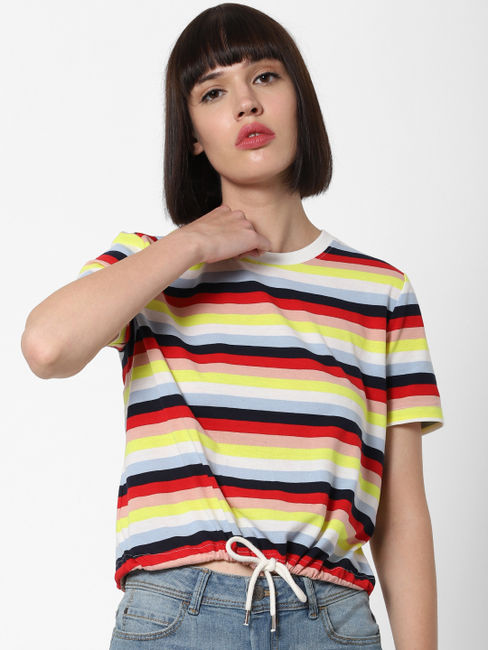 White Striped Front Tie T-Shirt
