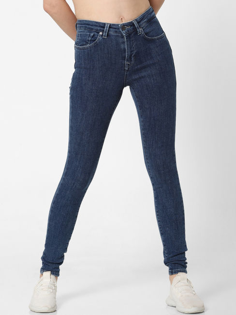 Blue Mid Rise Mildly Washed Skinny Fit Jeans