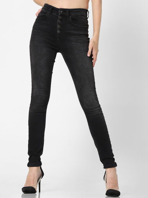 Black High Rise Button Up Skinny Jeans