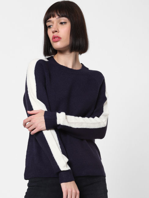Navy Blue Contrast Tape Detail Pullover