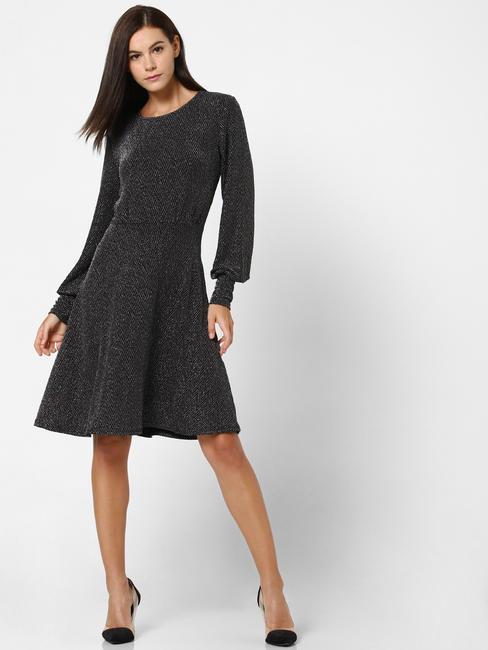 Black Shimmer Cuff Detail Fit & Flare Dress