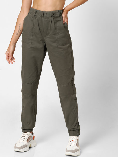 Green Mid Rise Utility Jogger Pants