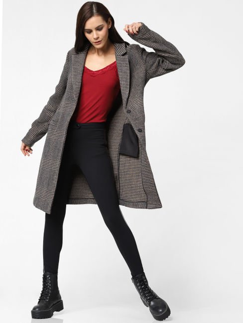 Navy Blue Houndstooth Print Trench Coat