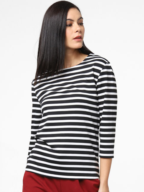 Black Striped Back Cut-Out Top