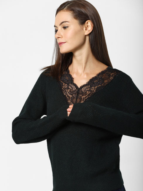 Green Lace Detail Pullover
