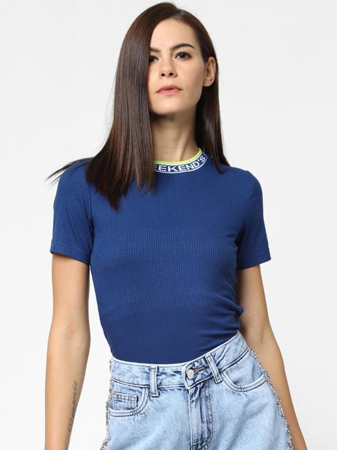 Blue Contrast Collar Tipping T-Shirt