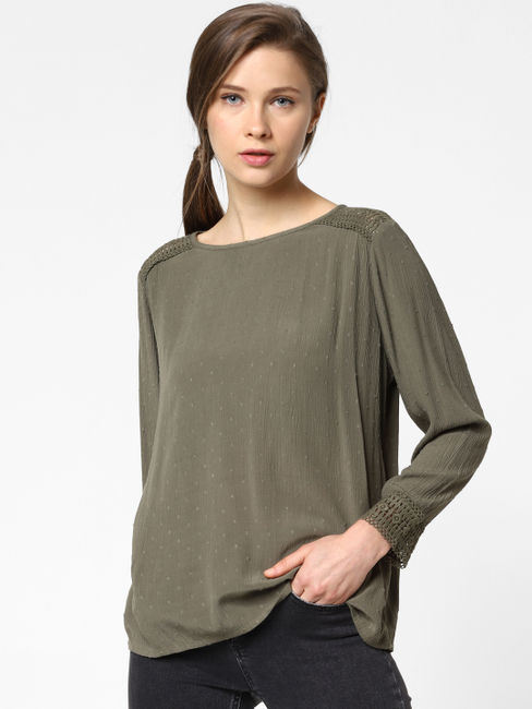 Green Cut Out Detail Top
