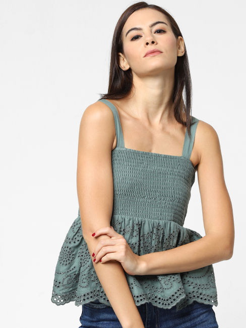 Green Smock Frill Top