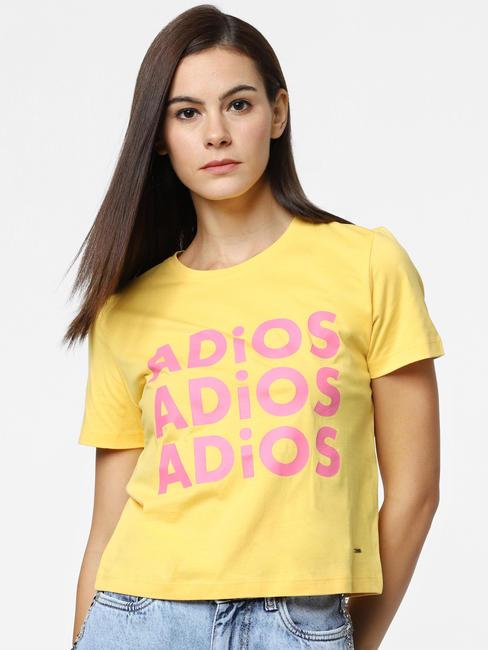 Yellow Adios Text Print T-Shirt