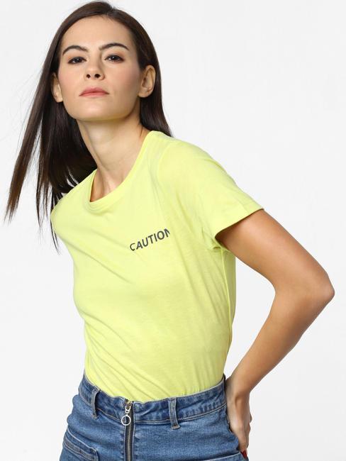 Green Caution Text Print T-Shirt