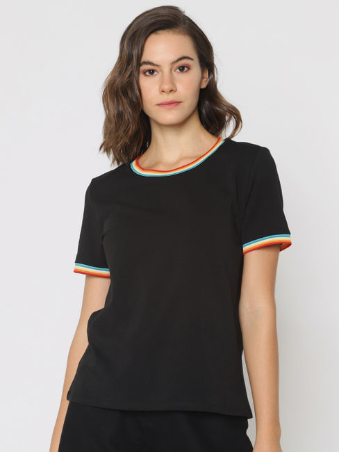 Black Contrast Tipping T-shirt