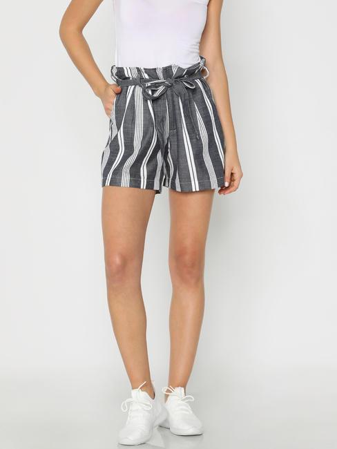 White Mid Rise Striped Waist Shorts