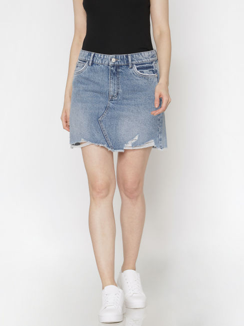 Blue Raw Edge Denim Skirt