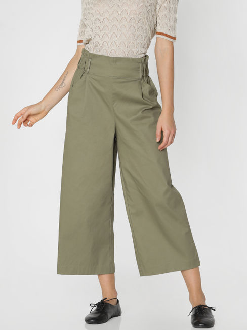 Green High Rise Loose Fit Pants