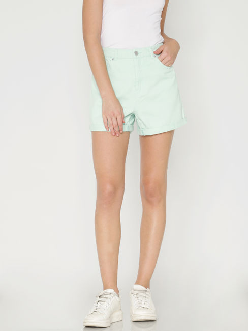 Pastel Green Slim Fit Denim Shorts