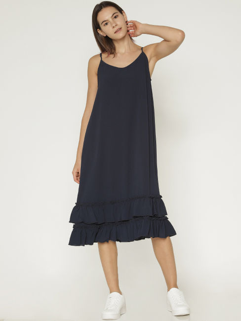 Navy Blue Ruffle Midi Dress